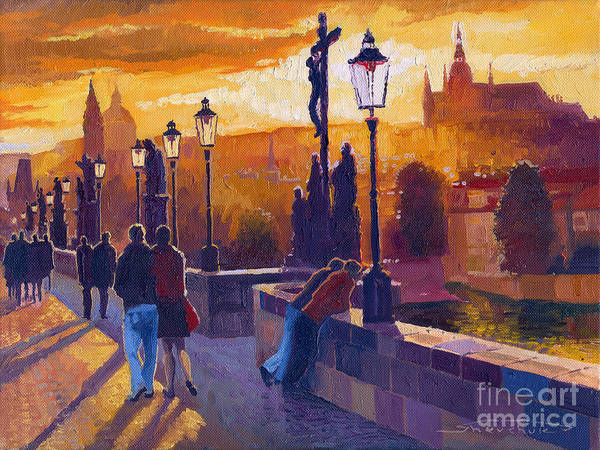 Oil On Canvas Art Print featuring the painting Golden Prague Charles Bridge Sunset by Yuriy Shevchuk