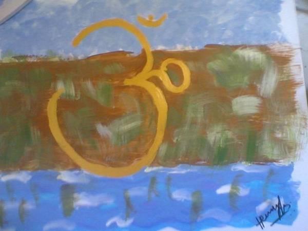 Omkar Art Print featuring the painting Hds-universal Om by Hema V Gopaluni
