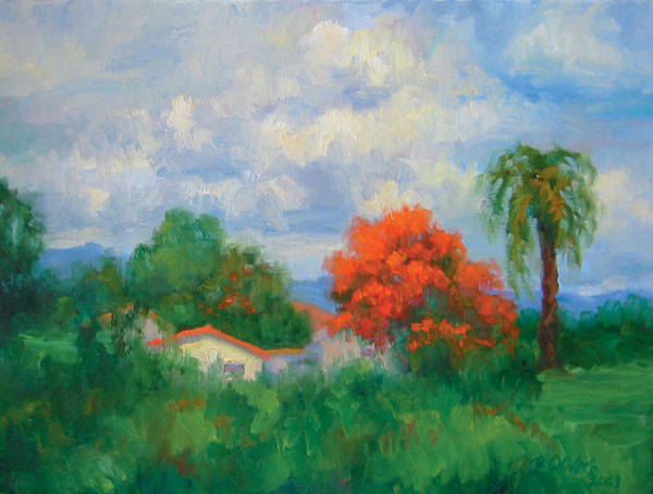Honduras Art Print featuring the painting Acacias And Red Roofs by Bunny Oliver