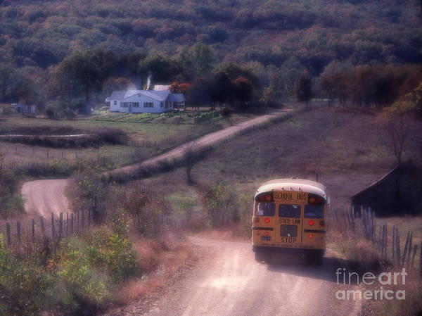Rural School Bus Print featuring the photograph Almost Home by Garry McMichael