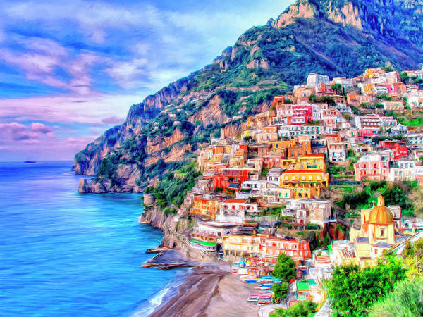 Positano Art Print featuring the painting Amalfi Coast At Positano by Dominic Piperata