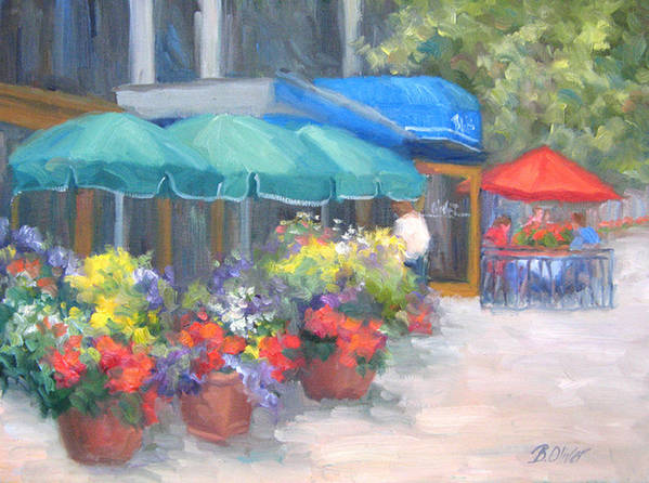 Cafe Art Print featuring the painting Breakfast At Blus by Bunny Oliver