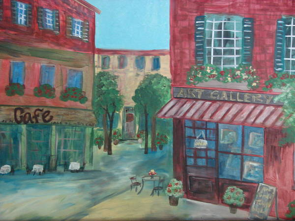 Cafe Art Print featuring the painting Cafe Life by Shiana Canatella