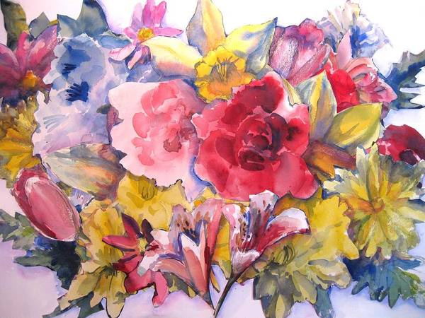 Collage Art Print featuring the painting Collage Of Flowers by Joyce Kanyuk