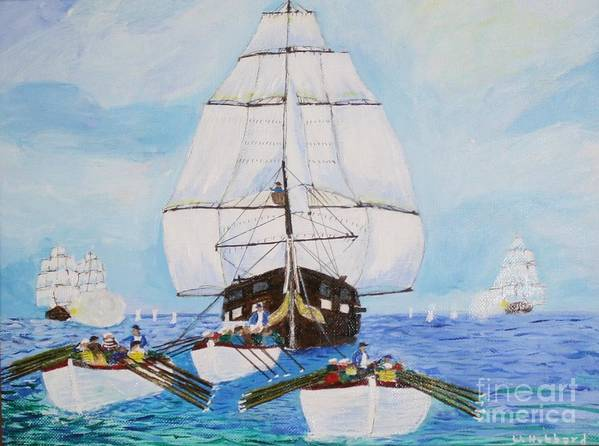 Frigate Art Print featuring the painting Constitution Eluding British Fleet March 1812 by Bill Hubbard
