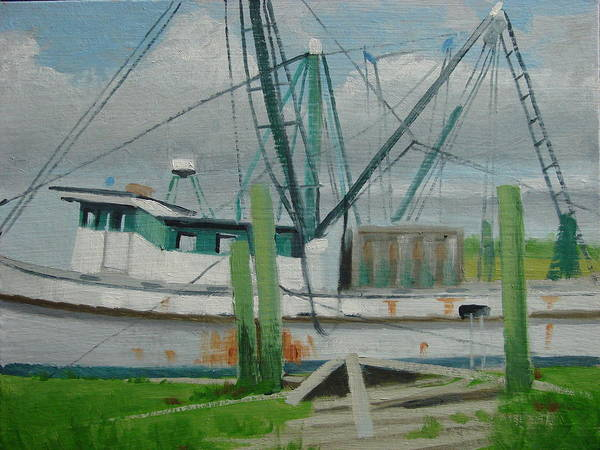 Boat Shrimp Boat Work Boat Art Print featuring the painting Day Of Rest by Robert Rohrich