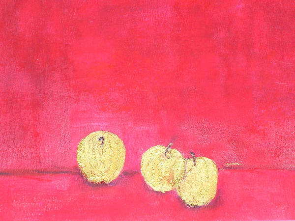 Fruit Art Print featuring the painting Gold Apples On Red by Michela Akers