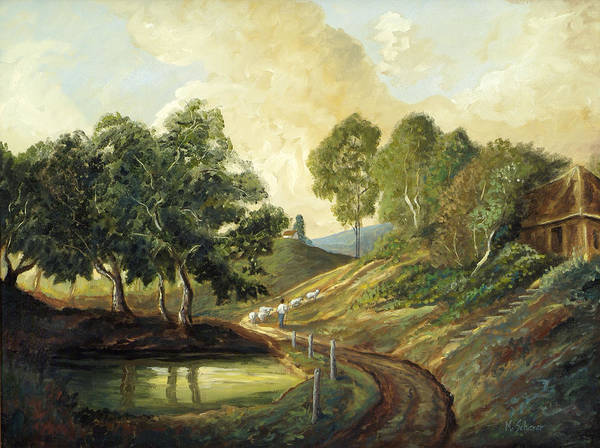 Landscape Oil Painting Art Print featuring the painting Heading Home by Michael Scherer
