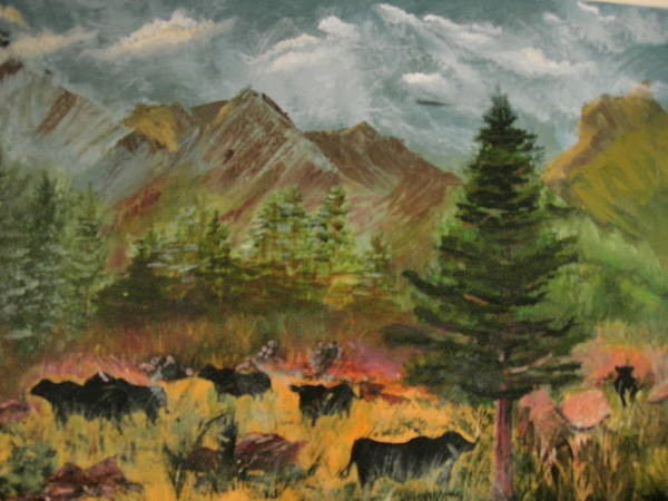 Landscape Art Print featuring the painting Home On The Range by Jack Hampton