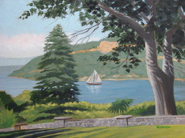 Landscape Waterscape Sail Boat Art Print featuring the painting Hudson River Schooner by Robert Rohrich