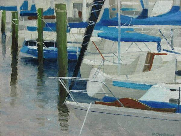 Boats Marina Art Print featuring the painting Marina No. 2 by Robert Rohrich
