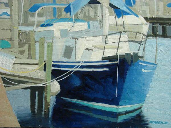 Boat Marinas Art Print featuring the painting Marina No1 by Robert Rohrich