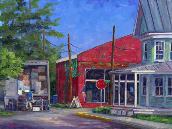 Oriental Nc Art Print featuring the painting Morning Delivery by Jeff Pittman