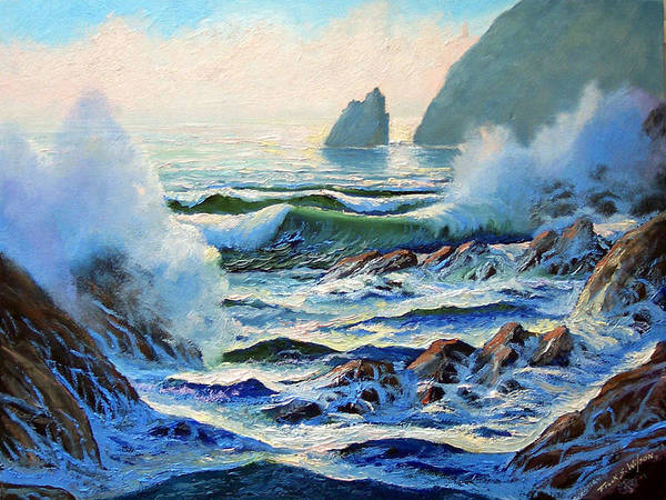 Seascape Art Print featuring the painting North Coast Surf by Frank Wilson