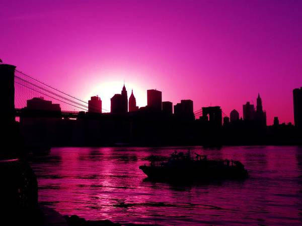 Brooklyn-bridge Art Print featuring the photograph Raspberry Ice In Silhouette by Kendall Eutemey