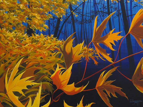 Autumn Leaves Art Print featuring the painting Raucous October by Hunter Jay