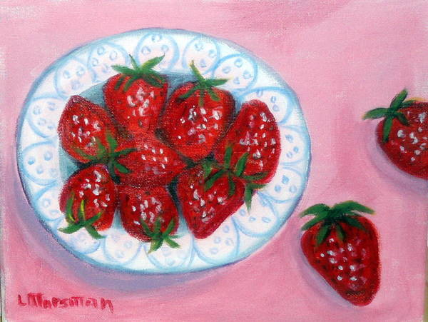 Red Art Print featuring the painting Red And Juicy by Lia Marsman