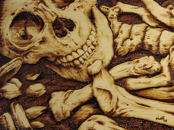 Skull Art Print featuring the pyrography Remains Of The Day by Chris Wulff