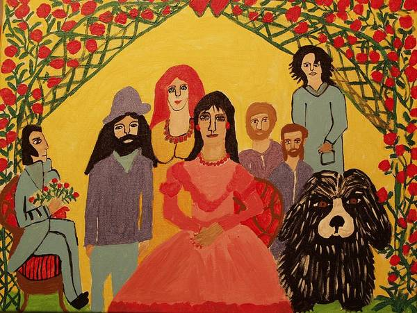 People Art Print featuring the painting Reunion by Betty J Roberts