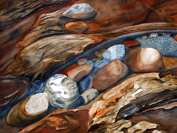 Rocks Art Print featuring the painting Rocks by Julie Pflanzer