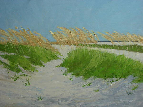 Ocean Dunes Art Print featuring the painting Sand Dunes No 1 by Robert Rohrich