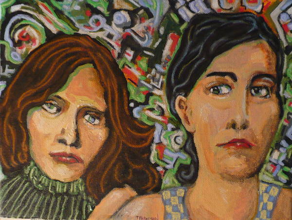 Mixed Art Print featuring the painting Sisters In Art by Todd Peterson