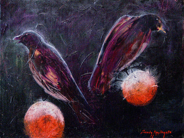 Raven Art Print featuring the painting Still Is Sitting by Sandy Applegate