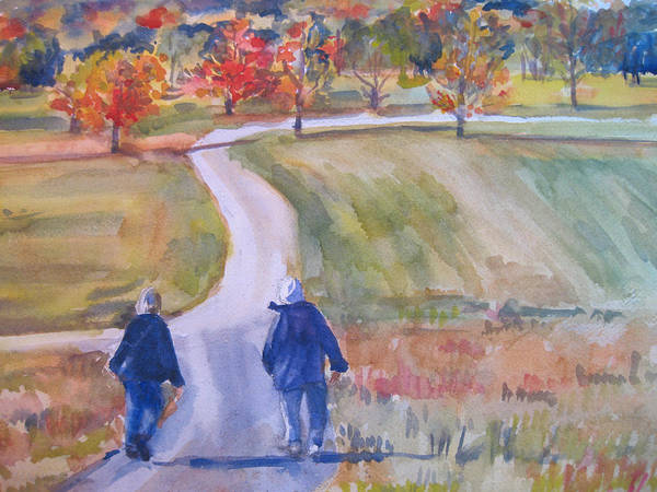 Landscape Art Print featuring the painting Storm King Stroll by Joyce Kanyuk