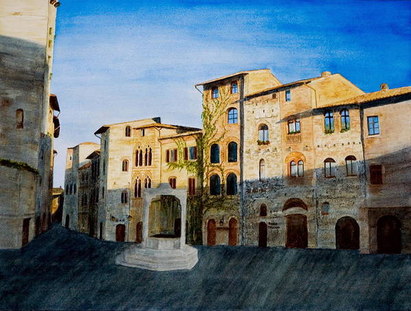 Landscape Art Print featuring the painting Summer Evening In San Gimignano by Monika Degan