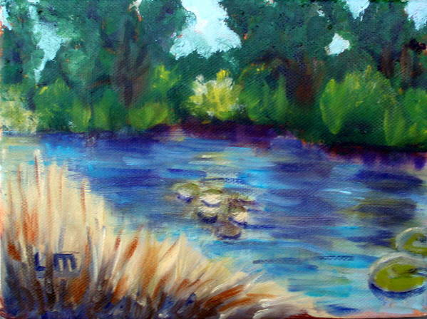 Pond Summer Landscape Water Trees Art Print featuring the painting Summer Pond by Lia Marsman