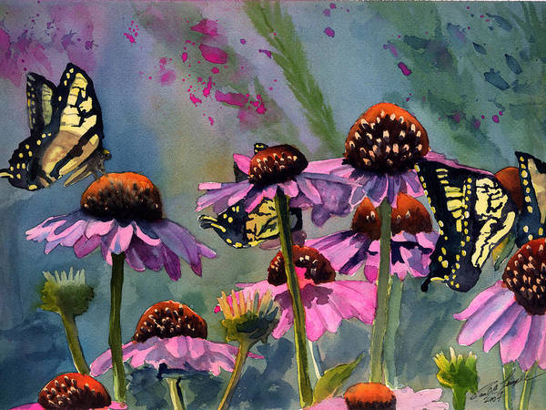 Butterflies Art Print featuring the painting Swallowtails And Cone Flowers by Paul Temple
