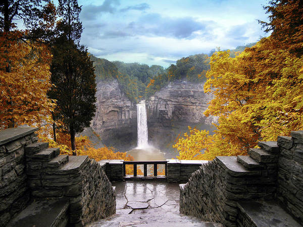 Taughannock Falls Art Print featuring the photograph Taughannock In Autumn by Jessica Jenney
