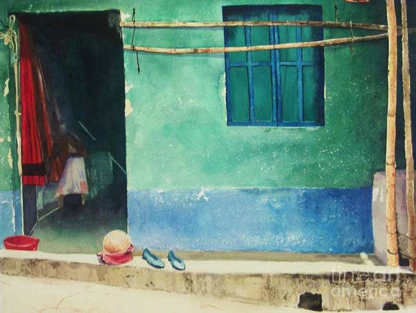 Guatemalan Home Print featuring the painting Two Shoes And A Melon by Elizabeth Carr
