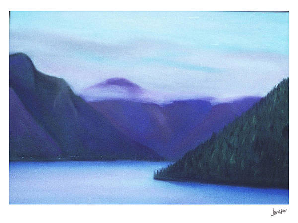 Landscape Art Print featuring the painting Us Hwy 101 Lake Crescent Washington by Gary Jameson