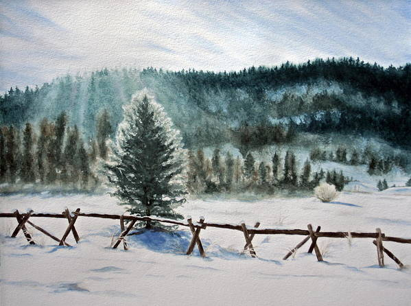 Landscape Art Print featuring the painting Winter Glow by Monika Degan