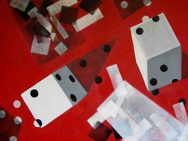Dice Art Print featuring the painting Wwhite Dice With Runaway Dots by Evguenia Men