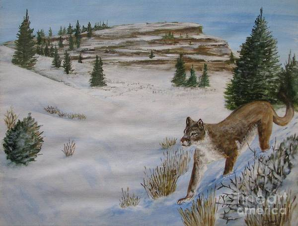 Landscape Art Print featuring the painting Breakfast Hunt by Dana Carroll