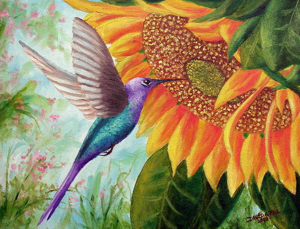 Hummingbird Art Print featuring the painting Humming For Nectar by David G Paul