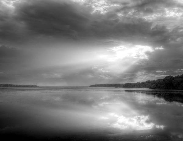 Sun Rays Art Print featuring the photograph Let There Be Light Black And White by JC Findley