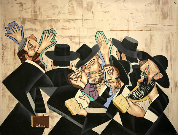 Praying Rabbis Framed Prints Art Print featuring the painting Praying Rabbis by Anthony Falbo