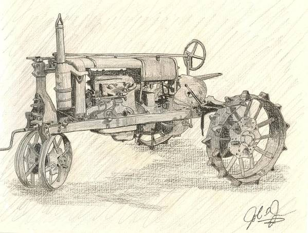 Tractor Art Print featuring the drawing The Tractor by John Jones