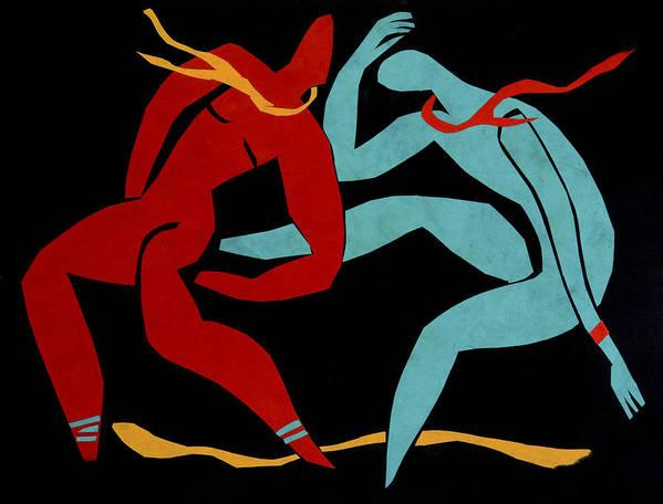 Dancers Art Print featuring the mixed media Dancing Scissors 21 by Shoshanah Dubiner