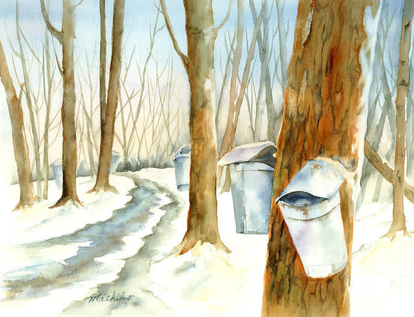 Wood Art Print featuring the painting Maple Trail by Michiko Taylor