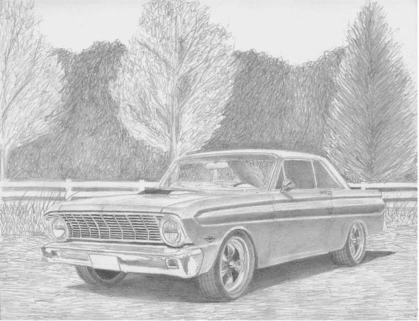 Rooks10904 Drawings Art Print featuring the drawing 1965 Ford Falcon Classic Car Art Print by Stephen Rooks