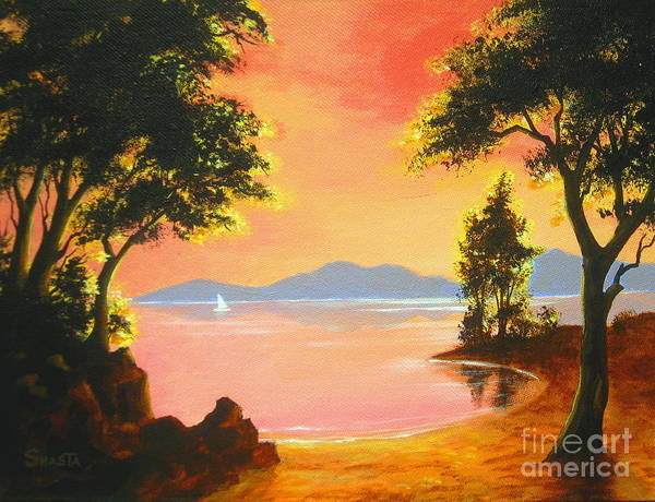 Nature Art Print featuring the painting Spirit Lake by Shasta Eone