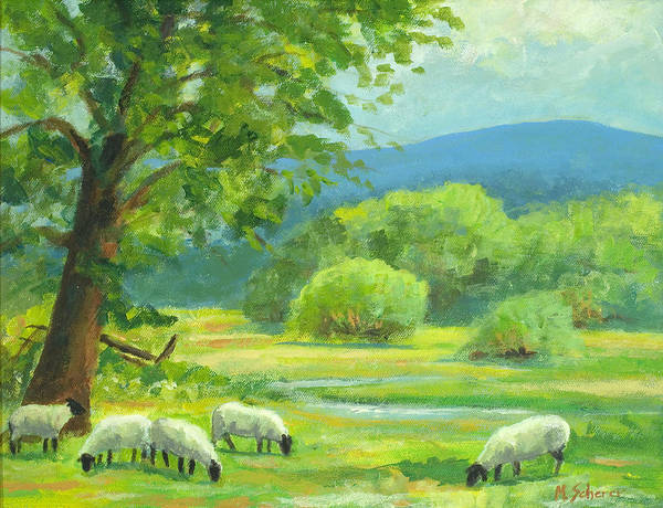 Nature Art Print featuring the painting By Peaceful Waters by Michael Scherer