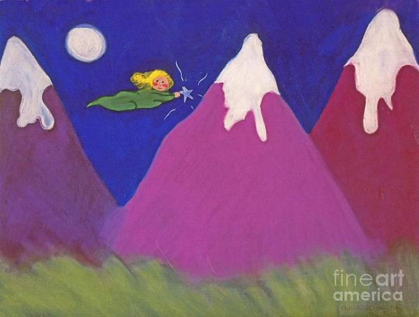 Landscape Art Print featuring the pastel Purple Mountains Majesty by Christine Crosby