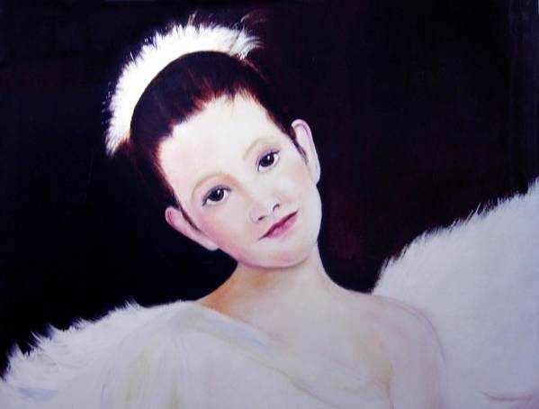 Angel Art Print featuring the painting The Angel by Michela Akers