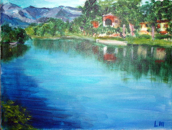 Landscape Art Print featuring the painting the river Adda by Lia Marsman