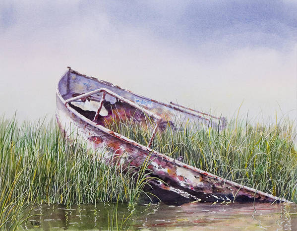Boat Art Print featuring the painting Final Journey by Ted Head